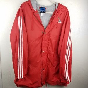 ADIDAS Red Button Up Hoodie Windbreaker Jacket